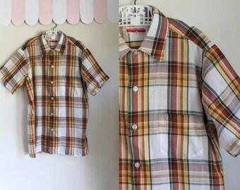 vintage 1960s boy's plaid shirt - GOLDEN GLOW orange & yellow button down / 14yr