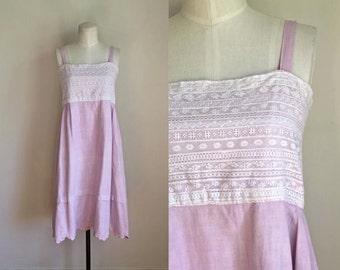 edwardian 1910s slip dress - LILAC NIGHT pink linen dress / reworked dress / XS