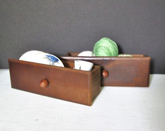 Two Vintage Small Wooden Drawers