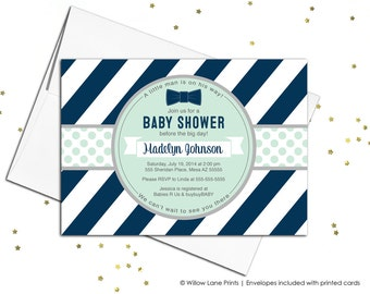 Printable boy baby shower invitations, boy baby shower invites, bow tie baby shower invitation, little man baby shower navy mint - WLP00728
