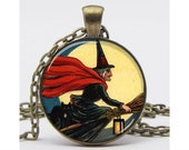 Witch on Broomstick Against a Full Moon Art Pendant Resin Pendant Picture Pendant Halloween Pendant