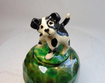 Terrier Puppy Pottery Bell - Wheel Thrown - Carved Potteryl - Musical Pottery - Whimsical Animals