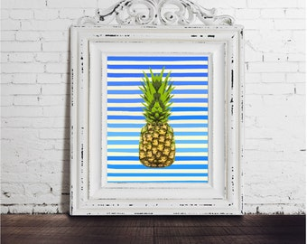 Pineapple Art Print, DIGITAL DOWNLOAD, Blue and White Stripes, Colorful Kitchen Art, Fruit Art, Pop Art, bright,  happy, beach, Australia