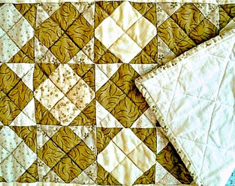 """Square in Square Quilted Tablerunner - Table Topper - Light Brown, Tan and Beige - 17"""" wide x 33-1/2"""" long"""