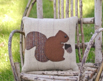 Primitive Squirrel Pillow Wool Pillow Folk Art Pillow