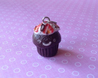 Chocolate and Strawberry cupcake necklace