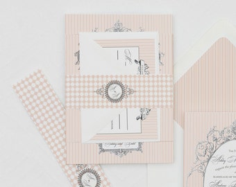 Victorian Striped Wedding Invitation Digital Files,Blush Striped Wedding Invitation Printable,Shabby Chic Wedding Invitation download, DIY