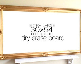 Extra Large MAGNETIC WHITEBOARD Gold and White Baroque Large Dry Erase Board Framed Message Board Home Office Organizer Gold Wedding Decor