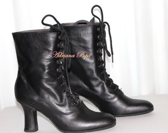 1900 Victorian shoes Historical Victorian Boots Black Leather short Victorian Boots Lace up Granny style Ankle Victorian boots