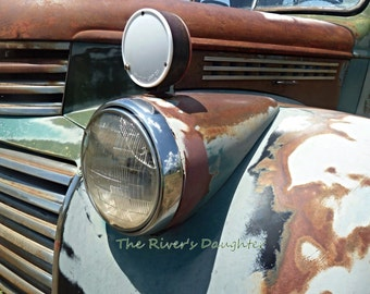 Taos Truck , Old GMC truck Photograph, 5x7 Matted Print, Rusty Truck