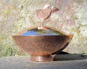 copper trinket pot, lidded ring dish