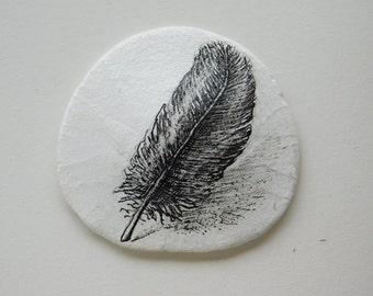 Feather Art on Sand Dollar ... Pacific Northwest sand dollar, original pen & ink artwork one-of-a-kind