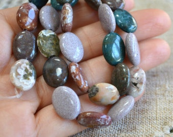 14x10mm Flat Oval Ocean Jasper Natural Gemstone Beads 16 Inches Strand