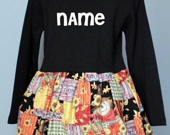 Halloween Dress - READY TO SHIP, SIzes 2, 4, 6, scarecrow, patchwork, autumn, fall print, sunflowers, thepunkinpatch