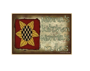 "Nonna's Kitchen, Nonna's Rules Sunflower Funny Grandmother Fridge Refrigerator Magnet 3.5"" X 2.5"""