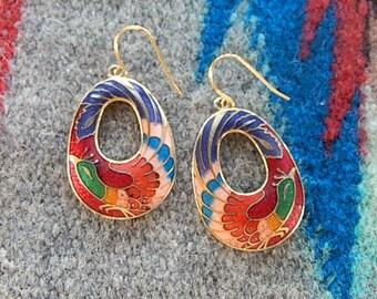 Cloisonné Earrings,  Vintage, Long Dangle, 1980's,  Colorful Peacock/Phoenix Earrings, Gift for Her