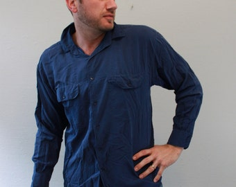 Vintage 80s Button down Blue Silk Shirt by Goouch
