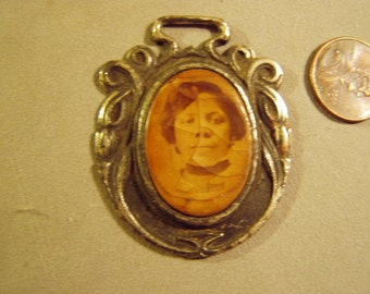 Antique Victorian Silver Tone Pocket Watch Fob With Photo of African American Woman  8683
