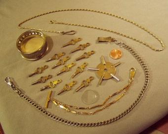 Vintage Lot 3 Mans Pocket Watch Chains & Set of 12 Watch Winding Keys 8812