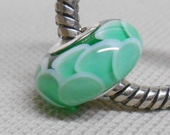 Transparent Green Scales Bead, Handmade Lampwork Bead, Silver Cored European Charm Bead