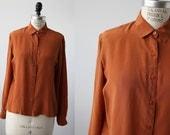 Vintage SILK Pumpkin Orange Blouse  Minimalist 80s Oversized Oxford Shirt size M
