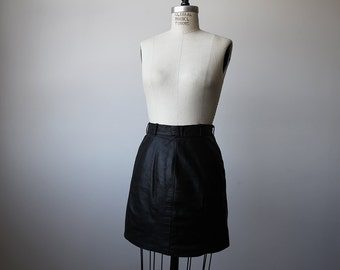 Vintage Black Leather Mini Skirt 80s High Waist XS-S