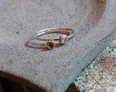 14k red gold and silver rings with garnet and natural zircon special order for Wendy