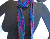 WOW Beaded Crochet Scarf, Belt, Headband, Bohemian, Hippie, blue, pink, purple, green