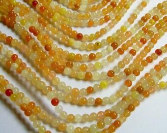 Orange Jade 4mm round - A quality - 100 beads per strand -  1 full strand - Natural - RFG584