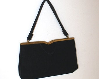 SALE Vintage1950s Black Velvet Party Purse . 50s Formal Evening Bag . Ingler Prom Handbag . Coin Purse & Mirror