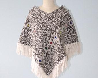 Vintage Boho Hippie Poncho . 1970s Black White Woven Cotton Poncho Cape With Fringe . Size  Small