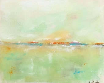 Colorful Coastal Abstract Original Painting in Frame - Bright Horizon 14 x 11
