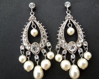 Bridal Pearl Earrings Chandelier Earrings ivory swarovski pearl Statement bridal earrings Pearl Bridal Earrings wedding earrings AVA