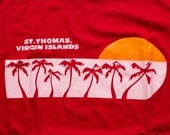 St. Thomas Sunset T-Shirt, Palm Trees, US Virgin Islands, Vintage 80s