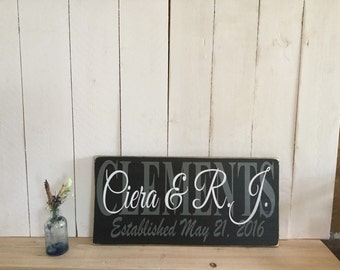 Last Name Sign - Wedding Date Sign - Personalized Sign -Wedding Gift for Couple - Family Established Name Board - Custom Wedding Sign
