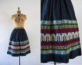 1960s Icy Ridge southwest cotton skirt / 60s embroidered