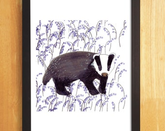 Badger Print, Animal Art Print, Badger Illustration, Digital Print Badger and Bluebells