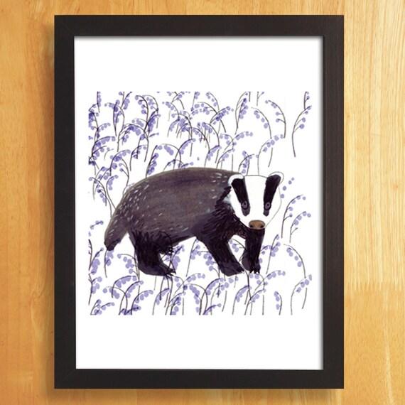 Badger illustration A3 Art Print
