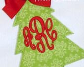 Christmas Shirt, Girls Christmas Tree Shirt Monogrammed Personalized Applique Girl