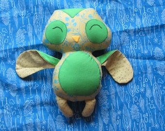 green owl softy plush doll