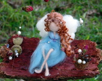 Waldorf inspired Needle felted Fairy on bark Home decor Mobile