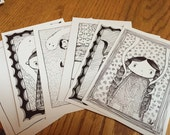 Black and White Drawings--Set of Six Postcards