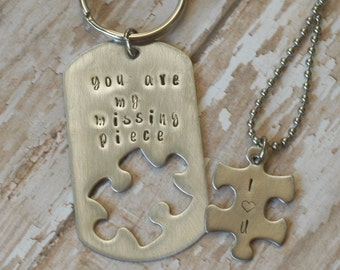 You Are My Missing Piece Stainless Puzzle Keyring With Puzzle Piece Necklace - By Inspired Jewelry Designs