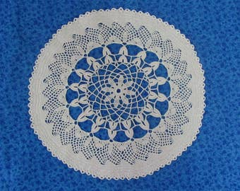 Vintage 14.5 Inch Hand Crochet Dark Ecru Cotton Hand Crafted Floral Lace Doily