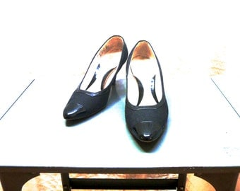 Vintage 60's Boutique Handmade American Pumps with Patent Leather Capped Toes and Borders on Black Fabric Body Mijji by DeLuca®