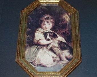 Vintage Framed Art Girl Child With Dog Gold Ornate Frame Six Sided Wall Hanging Spaniel Child Art