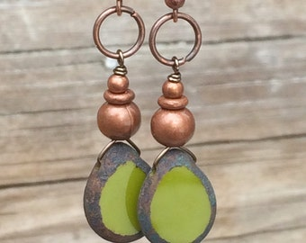 Green earrings, green jewelry, drop earrings, dangle earrings, olive green jewelry