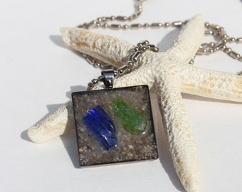Sand with Green and Blue Sea Glass Pendant Necklace Tray Beach