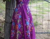 magenta batik dress with lace, alternative summer wear, upcycled, medium/ large