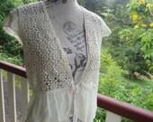 poetic lace + silk top, vintage romantic boho, medium